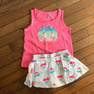 Girls summer skirt smile outfit